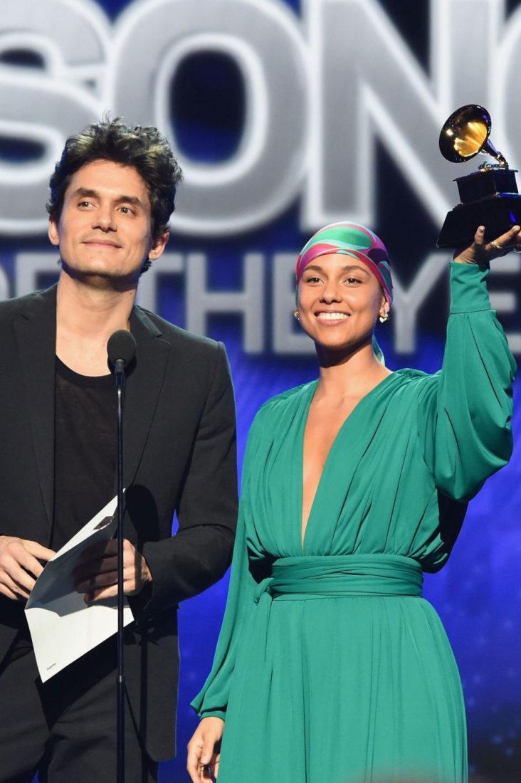 Alicia Keys and John Mayer at 2019 Grammy Awards in Los Angeles