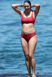 Pregnant Laura Byrne in Red Bikini at Bondi Beach in Sydney