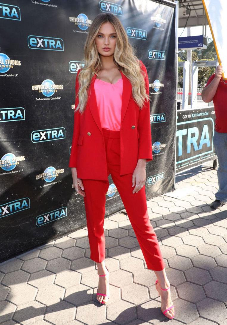Romee Strijd at 'Extra' at Universal Studios Hollywood