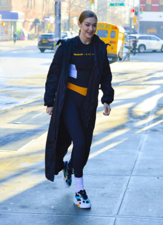 Gigi Hadid Wearing Reebok X Gigi Hadid in NYC