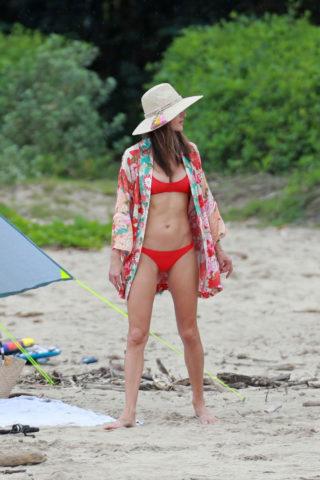 Alessandra Ambrosio in Red Bikini at a Beach in Hawaii
