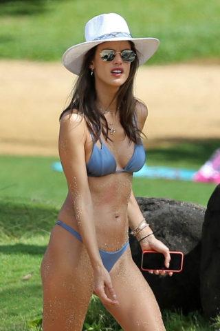 Alessandra Ambrosio in a Light Blue Bikini at the Beach in Hawaii
