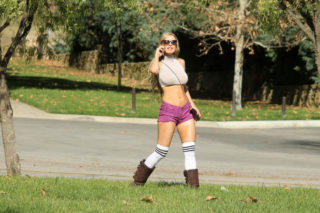 Ana Braga in Shorts and Crop Top