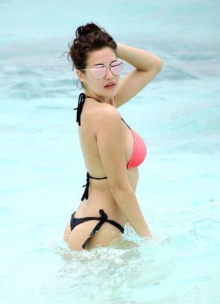 Chloe Goodman in Bikini at a Beach in Dubai