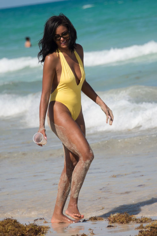 Claudia Jordan in Swimsuit on the Beach in Miami