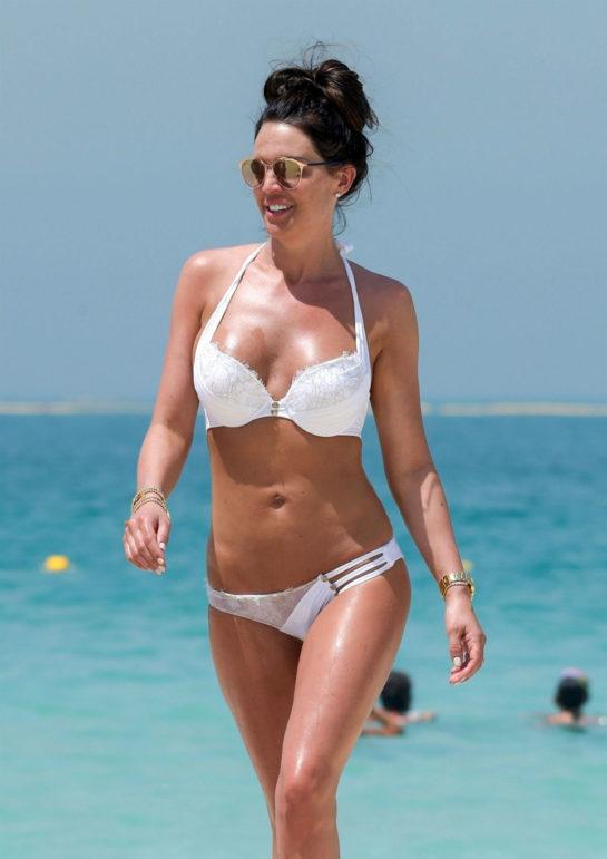 Danielle Lloyd in White Bikini on the beach in Dubai