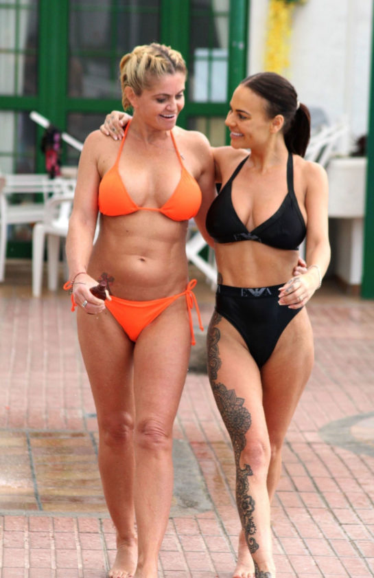 Danniella Westbrook and Chantelle Connelly in Bikinis on Holiday in Gran Canaria