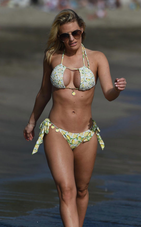 Ferne McCann and Danielle Armstrong in bikinis in Spain