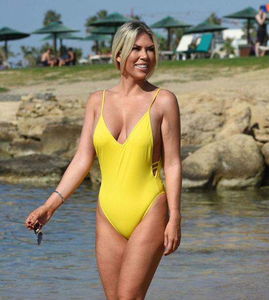 Frankie Essex in a Yellow Swimsuit in Turkey