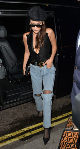 Bella Hadid in Ripped Jeans Out in London