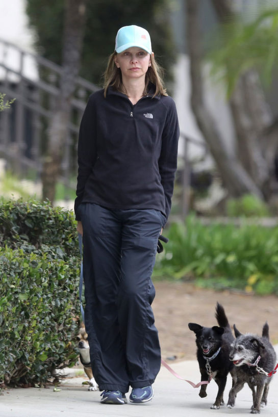Calista Flockhart Out with Her Dogs in Santa Monica