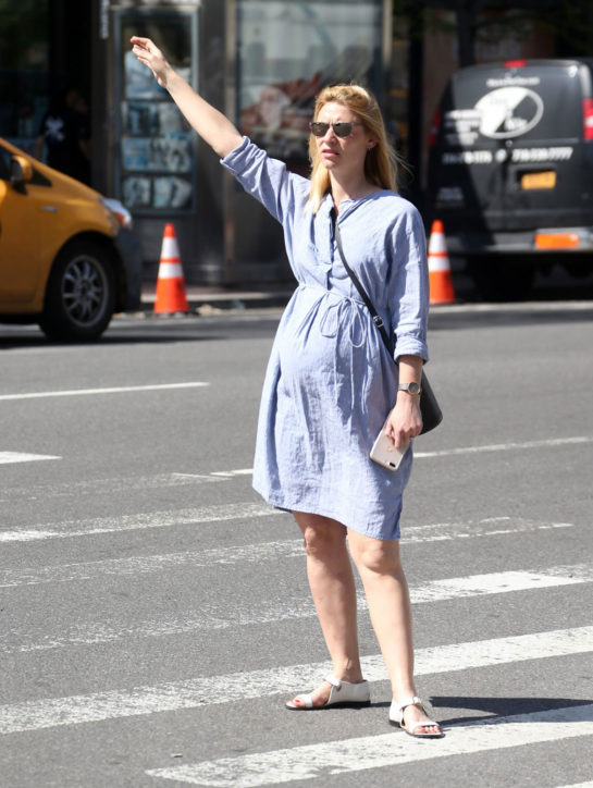 Claire Danes in a Flowing Maternity Dress in New York City