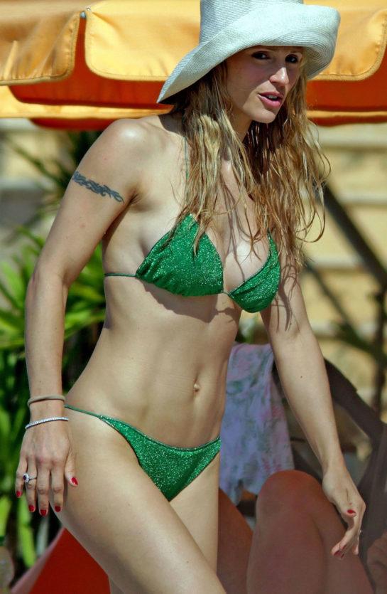 Michelle Hunziker in Bikini at the Beach in Varigotti