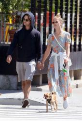 Nina Agdal and Her Boyfriend Jack Brinkley Walking Their Dog in NYC