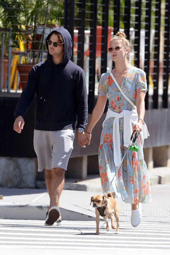 Nina Agdal and Her Boyfriend Jack Brinkley Walking Their Dog in NYC