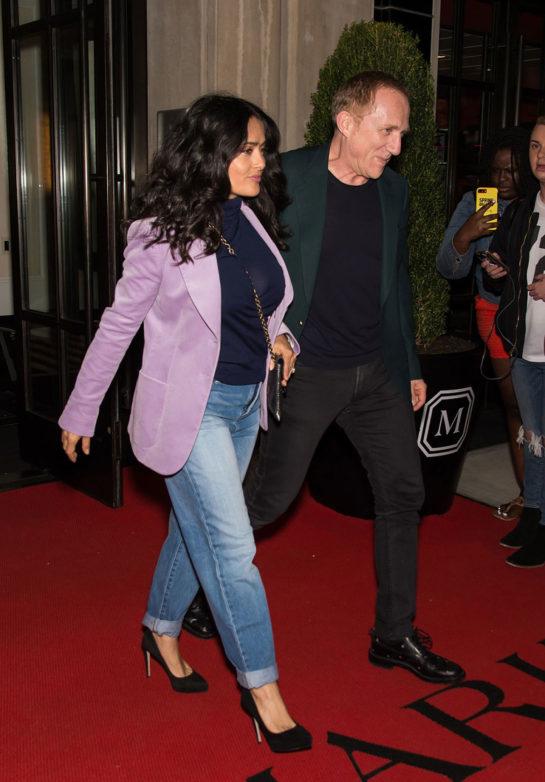 Salma Hayek and Husband Francois-Henri Pinault Leaving Their Hotel in NYC