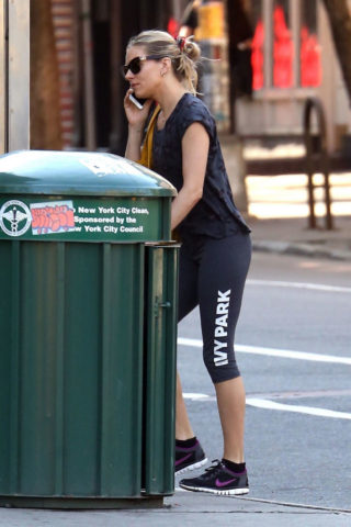 Sienna Miller in Leggings - Heading to the Gym in New York City