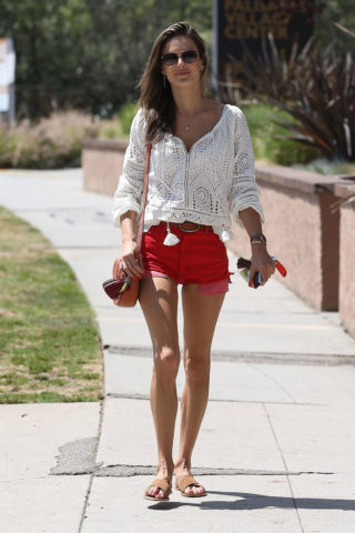 Alessandra Ambrosio in Short Red Denim Shorts