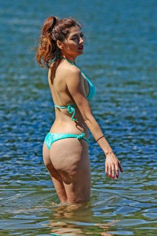 Blanca Blanco In a blue bikini at Lake Couer d'Alene