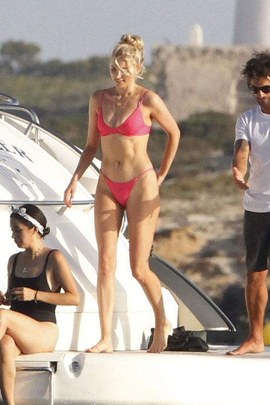 Elsa Hosk in a Red Bikini at a Yacht in Formentera