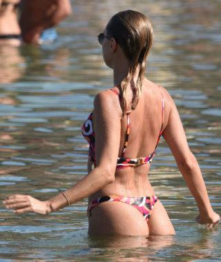 Kimberley Garner and Amy Jackson at the beach in Mykonos