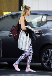 Margot Robbie - steps out with skull pattern leggings and no shoes