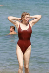 Courtney Love in Swimsuit at Club 55 in St Tropez