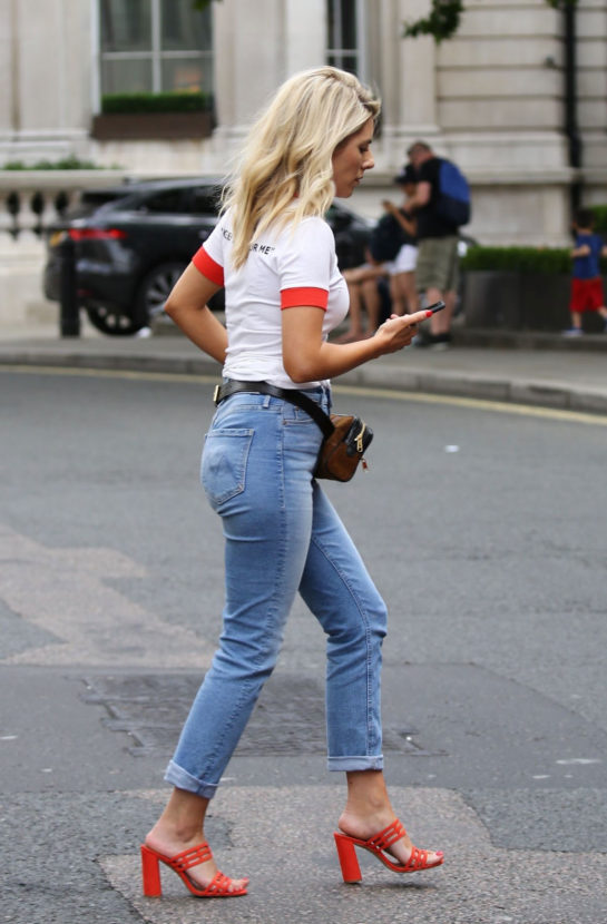 Mollie King in Jeans Out in London