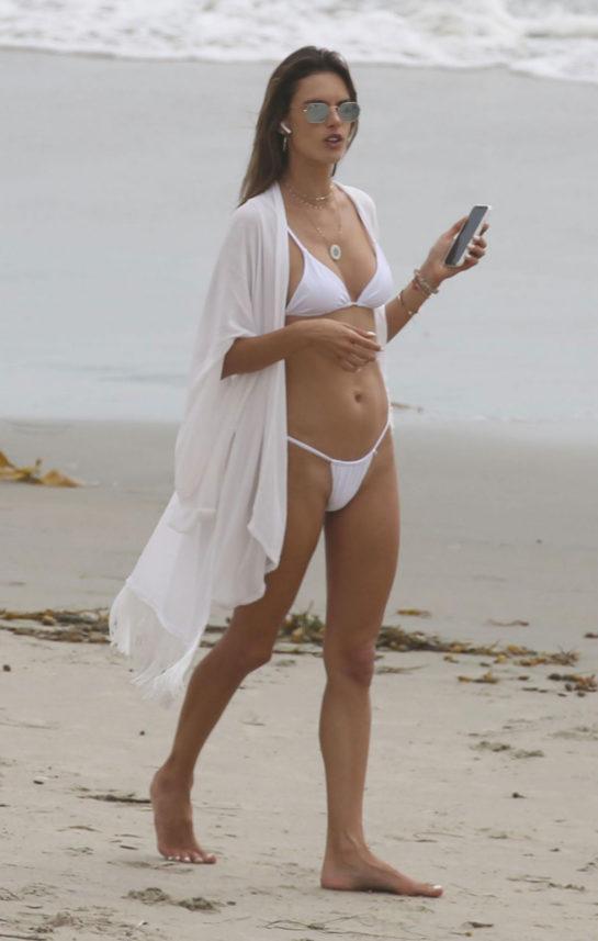 Alessandra Ambrosio in Bikini on the Beach in San Diego