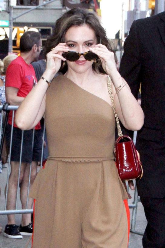 Alyssa Milano Arrives at Good Morning America in New York
