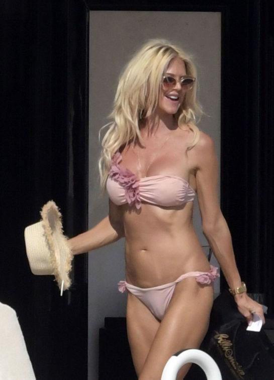 Victoria Silvstedt in Bikini at a Yacht in Sardinia