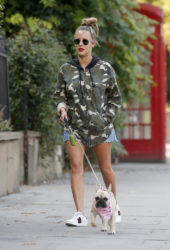 Caroline Flack Out with Her Dog in London