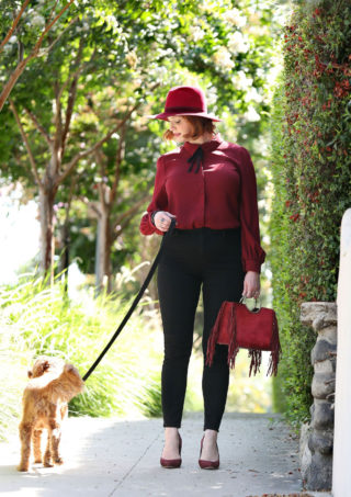 Christina Rene Hendricks Out with Her Dog in LA