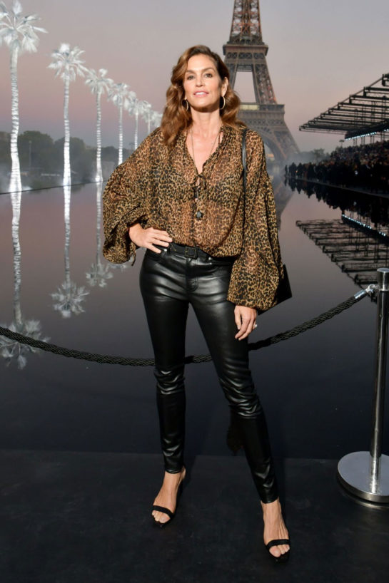 Cindy Crawford at Saint Laurent Show at Paris Fashion Week