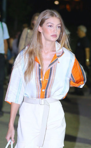 Gigi Hadid on the Backstage at Ralph Lauren Show in New York