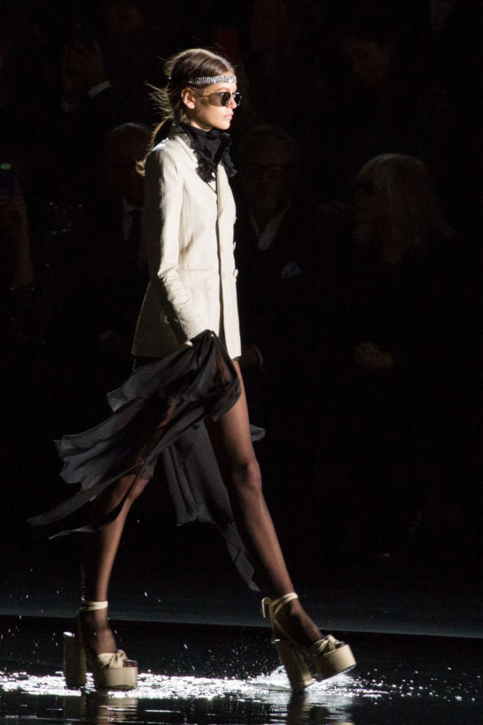 Kaia Gerber at Saint Laurent Runway Show at Paris Fashion Week