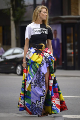 Martha Hunt for Versace on Madison Avenue in New York