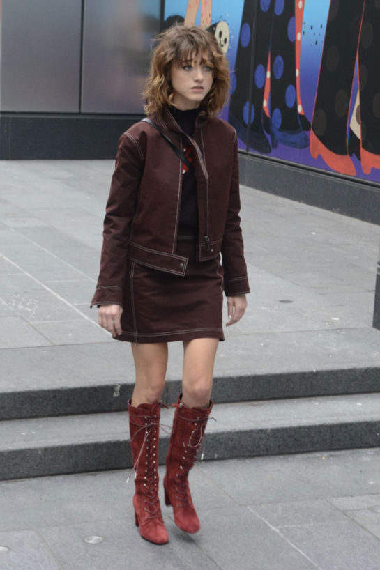 Natalia Dyer at Longchamp Fashion Show in New York