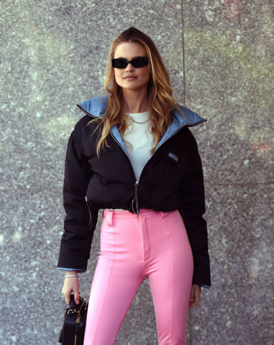 Behati Prinsloo Arrives at Victoria's Secret offices in New York City
