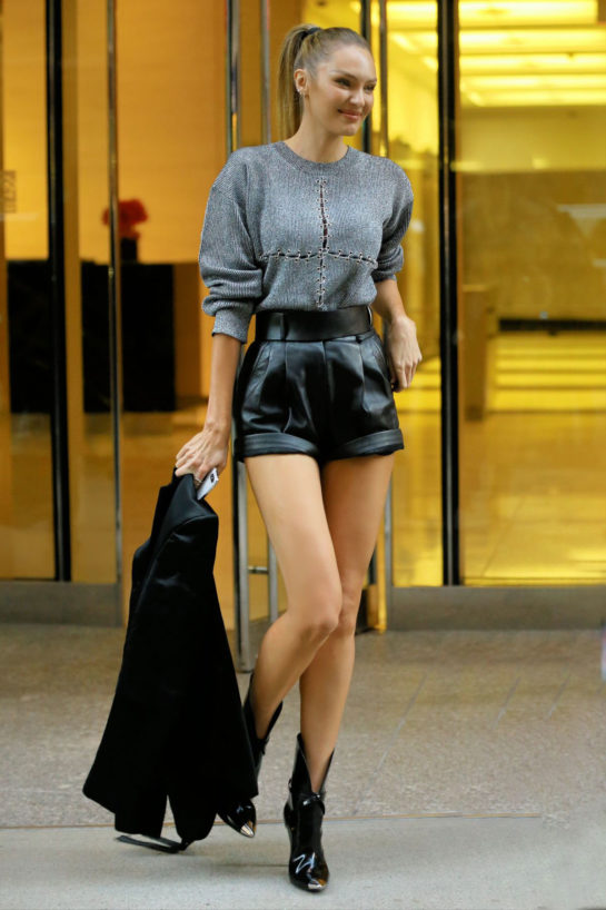 Candice Swanepoel at Victoria's Secret offices in New York City