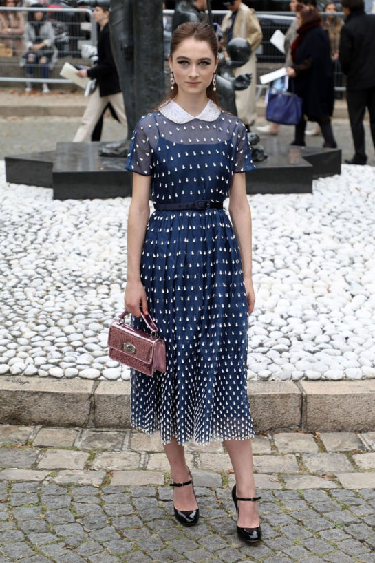 Raffey Cassidy Arrives at Miu Miu Show at Paris Fashion Week