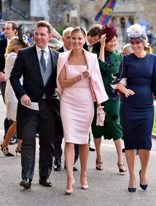 Holly Candy arrive ahead of the wedding of Princess Eugenie of York to Jack Brooksbank at Windsor Castle