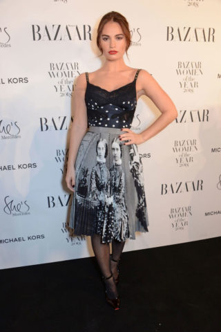 Lily James at Harper's Bazaar Women of the Year Awards in London