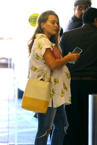 Pregnant Hilary Duff Arrives at Appointment in Los Angeles