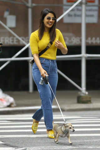 Priyanka Chopra with her dog Out in New York