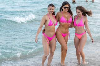 Claudia Romani, Melissa Lori and Anais Zanotti in Bikinis on South Beach in Miami