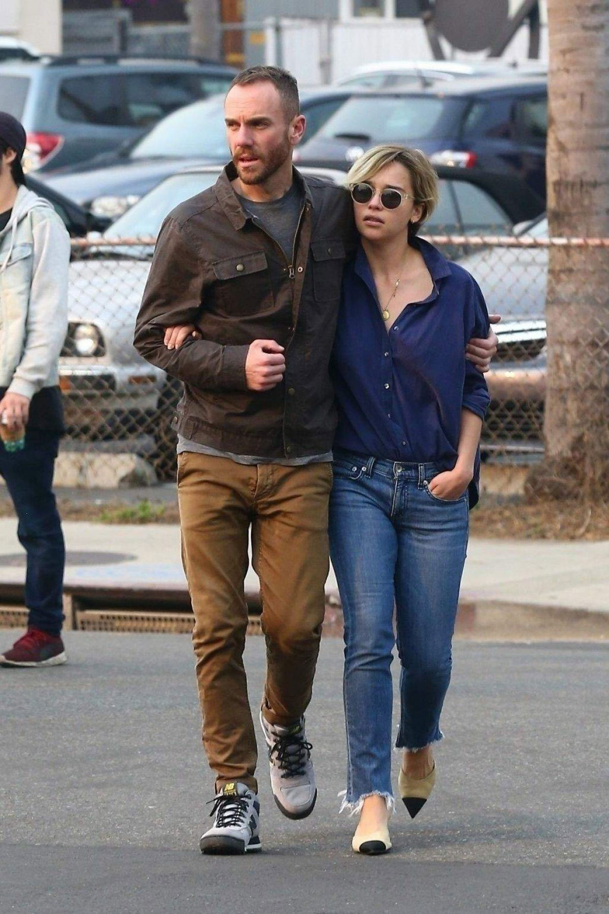Street Style - Emilia Clarke and her new boyfriend Charlie McDowell Out in Venice Beach - JustFabzz