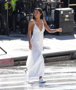 Laura Harrier on the Set of a Photoshoot in Los Angeles
