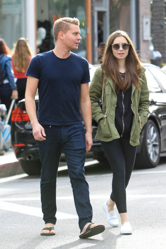 Lily Collins and Johnny Harper Out Shopping in Beverly Hills
