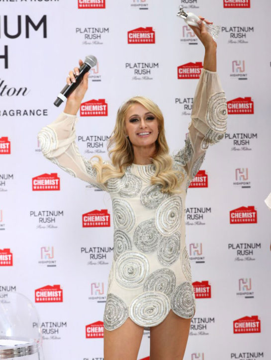 Paris Hilton launch of her 24th fragrance Platinum Rush in Melbourne